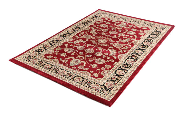 Ornate Red and Black Traditional Bordered Ikat Rug