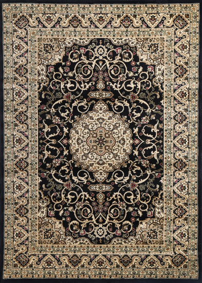 Ornate Black Bordered Traditional Flowered Rug