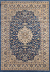 Ornate Blue Bordered Traditional Flowered Rug