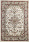 Ornate Cream Bordered Traditional Flowered Rug