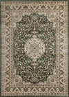 Ornate Green Bordered Traditional Flowered Rug