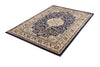 Ornate Navy Blue Bordered Traditional Flowered Rug
