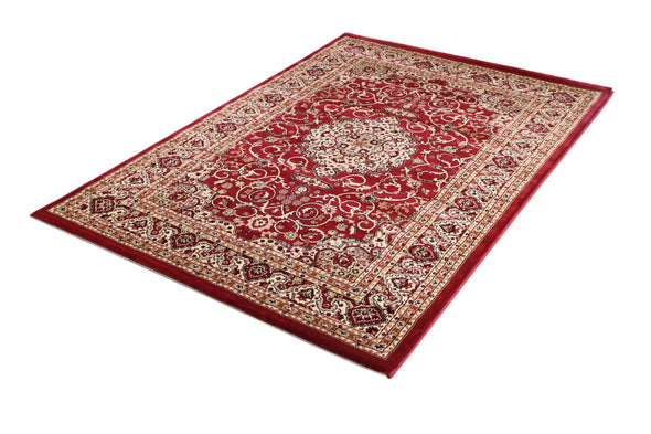 Ornate Red Bordered Traditional Flowered Rug