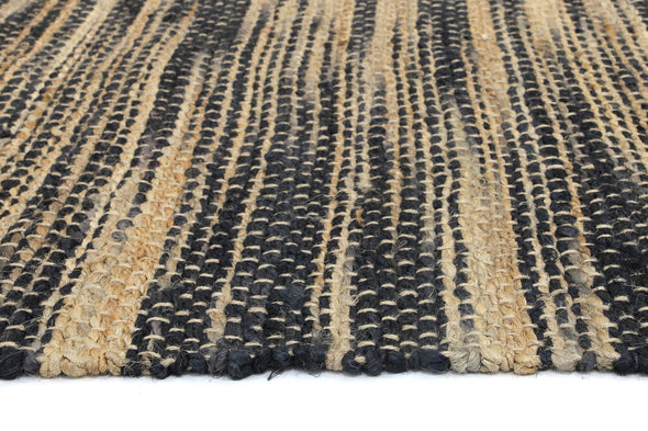 Malmo Grey Stipe Natural Jute Rug