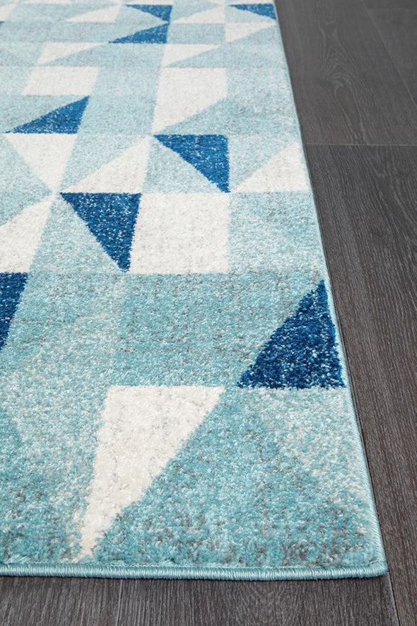 Mirage Illusion Modern Geo Blue Ivory Runner Rug