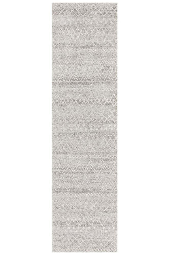 Oasis Nadia Grey Rustic Tribal Runner Rug
