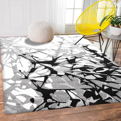 Pablo Grey and Cream Abstract Floral Modern Rug