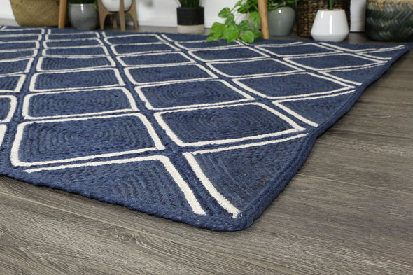 Bonnie Navy Blue Natural Parquetry Rug