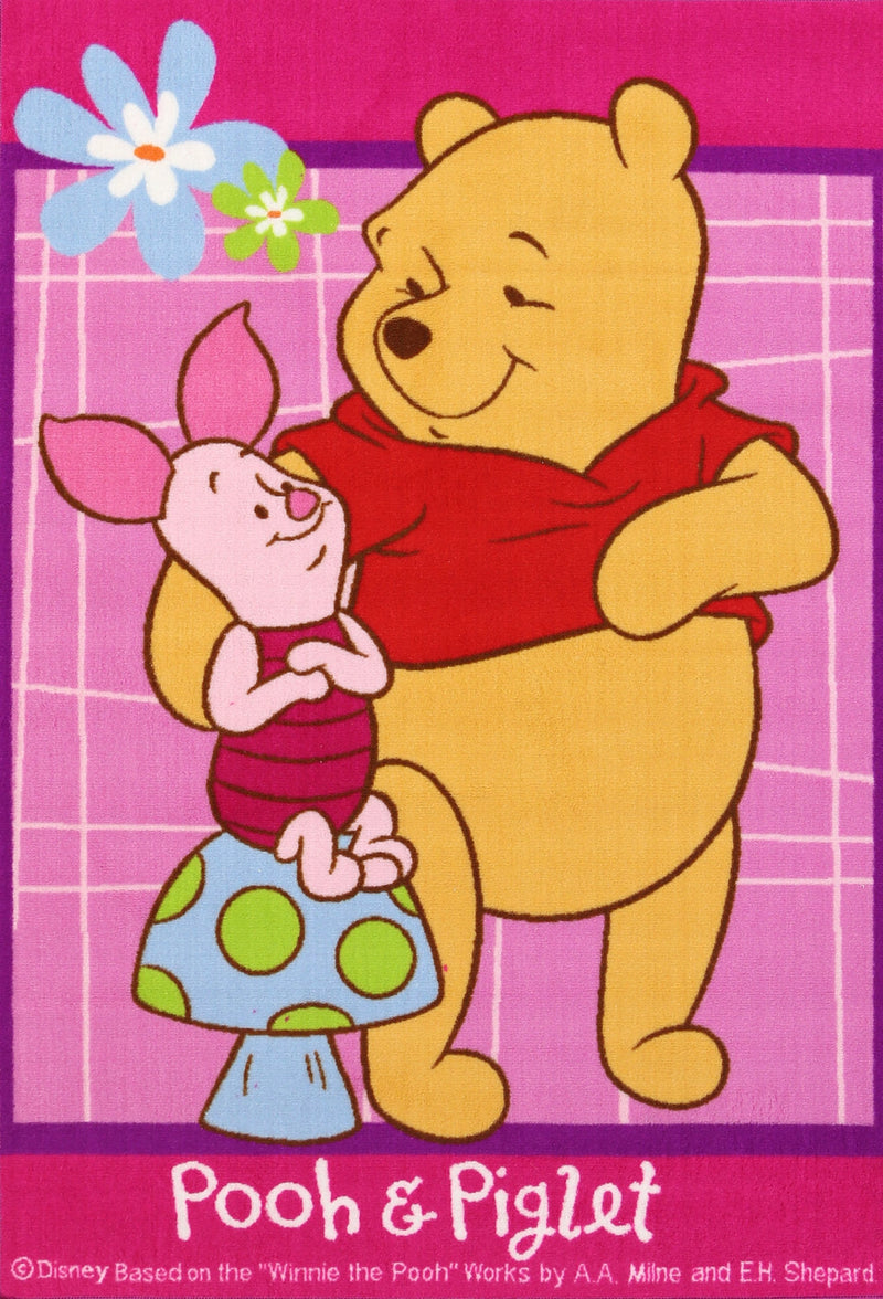 Non Slip Pink Kids Disney The New Adventures of Winnie the Pooh and Piglet Hug Area Rug Baby Play Mat
