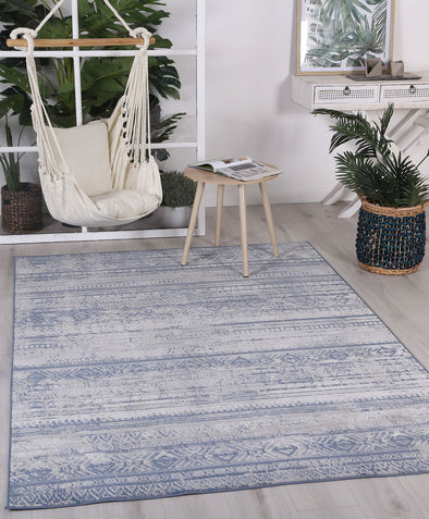 Courtyard Rome Indoor/Outdoor Blue Rug