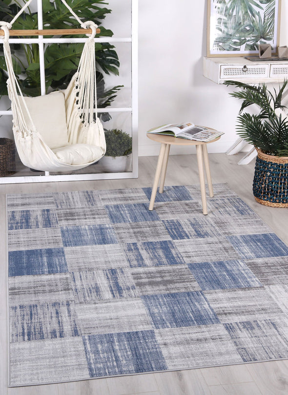 Courtyard Squares Indoor/Outdoor Blue Rug