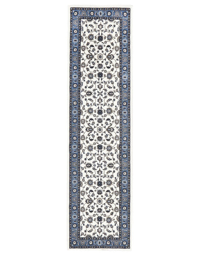 Sydney Classic Runner White With Blue Border Runner Rug