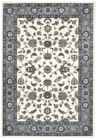 Sydney Collection Classic Rug White With Blue Border