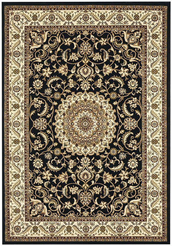 Sydney Collection Medallion Rug Black With Ivory Border