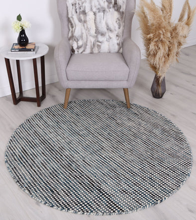 Scandi Teal Reversible Wool Round Rug
