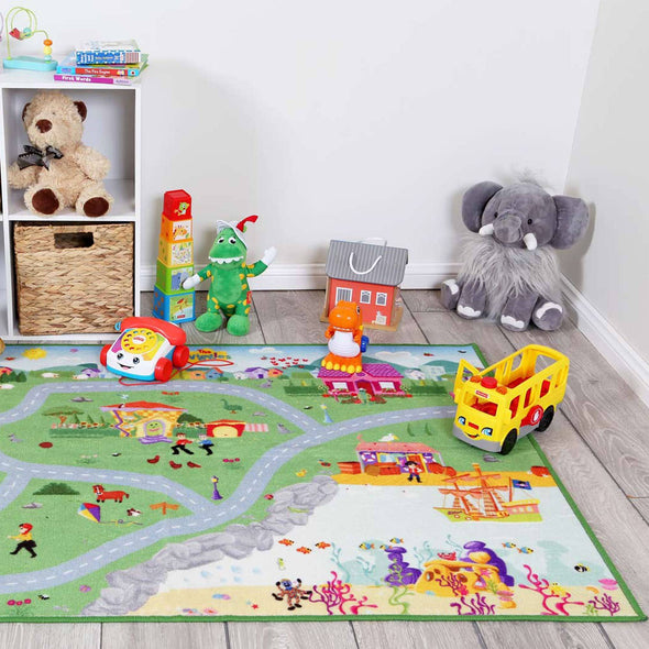 Road Track Play Mat, ABC Wiggles 100x150 cm Kids Rug