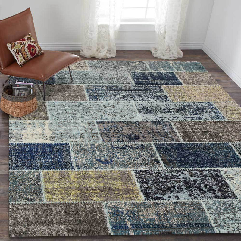 Casablanca Blue Tiled Brick Design Contemporary Rug