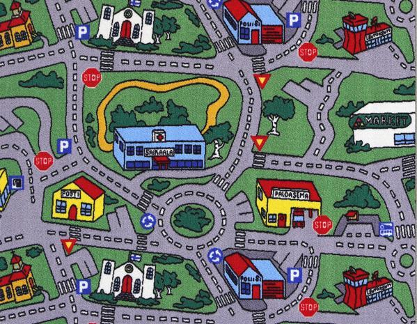 Non Slip Green Kids City Way Track Traffic Road Area Rug Baby Play Mat  100x130