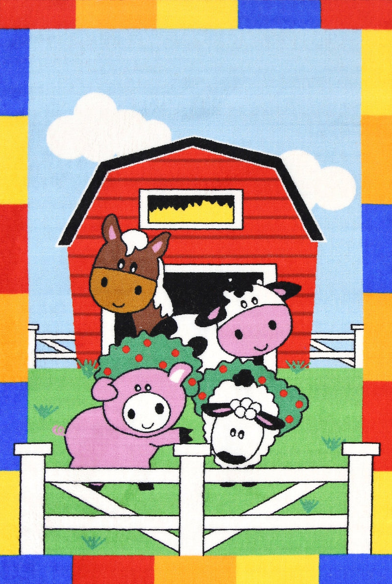 Non Slip Multicolour Kids Farm Animals Horse Cow Pig Sheep Area Rug Baby Play Mat