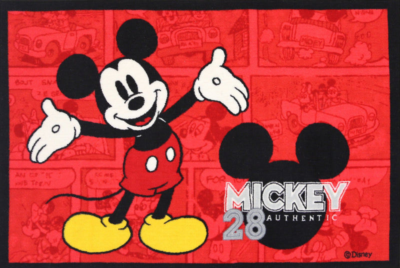 Non Slip Red Kids Disney Mickey Mouse Retro Area Rug Baby Play Mat