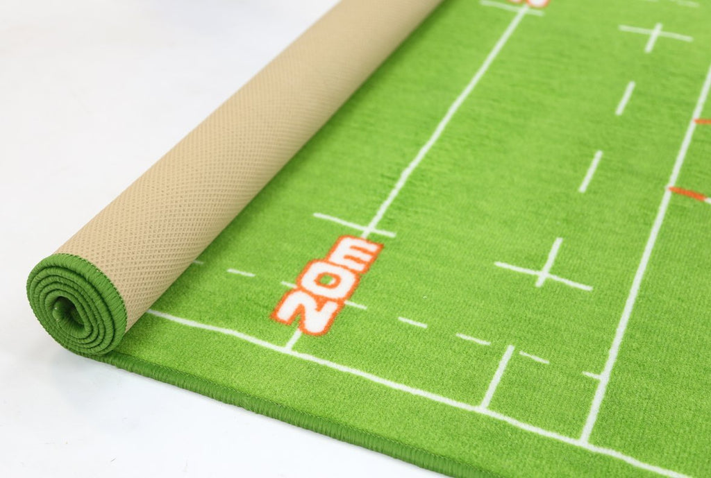 Non Slip Green Kids Rugby Field Area Rug Baby Play Mat