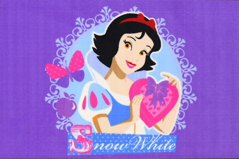 Non Slip Purple Kids Disney Princess Snow White Heart Area Rug Baby Play Mat