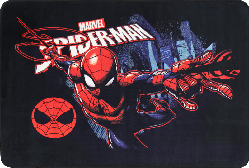Non Slip Black Kids Marvel Super Hero Spiderman Swinging Area Rug Baby Play Mat