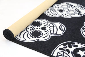 Non Slip Black White Kids Sugar Skulls Area Rug Baby Play Mat
