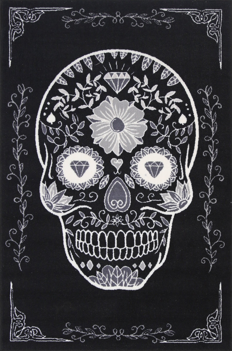 Non Slip Black White Kids Sugar Skull Area Rug Baby Play Mat