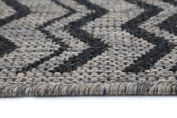 Sisalo Beige and Black Geometric Chevron Patterned Ikat Rug