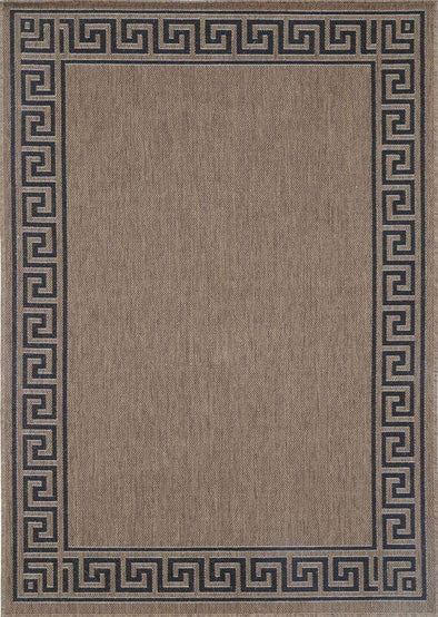 Sisalo Brown Beige Bordered Patterned Rug
