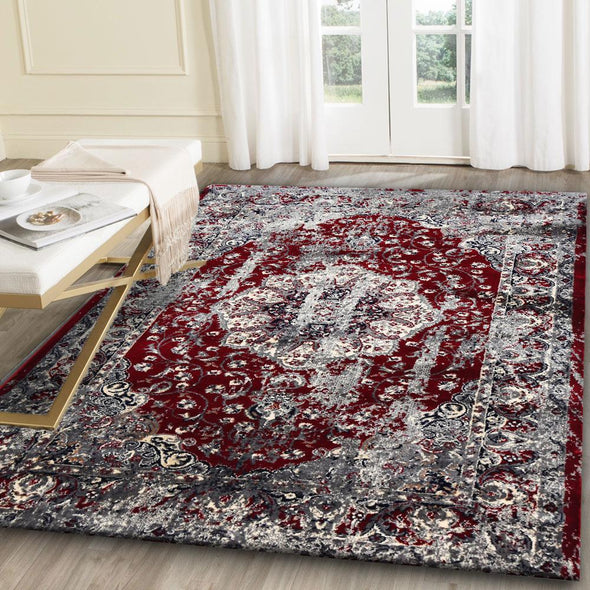 Artifact Red Grey Distressed Traditional Vintage Persian Medallion Rug