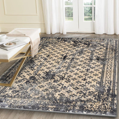 Artifact Ivory & Steel Grey Distressed Traditional Vintage Persian Boarder Rug