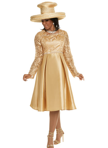 DONNA VINCI 5609 GOLD DRESS