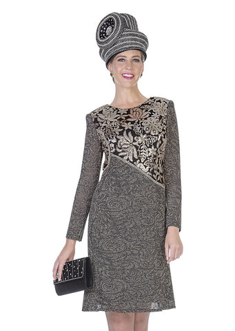 Elite Champagne 5055 Metallic Knit Dress