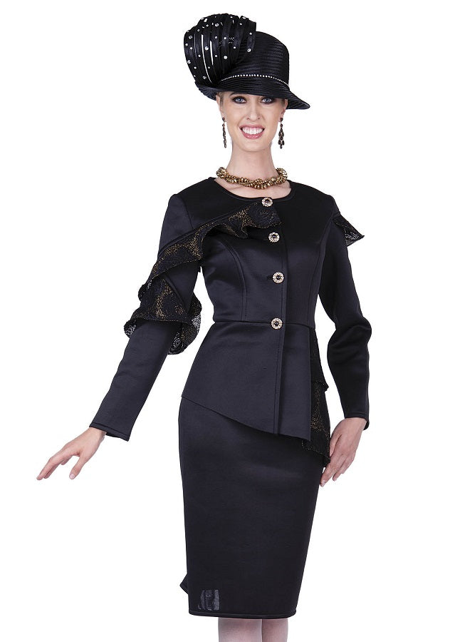 Champagne Italy 5301 Skirt Suit Black Gold