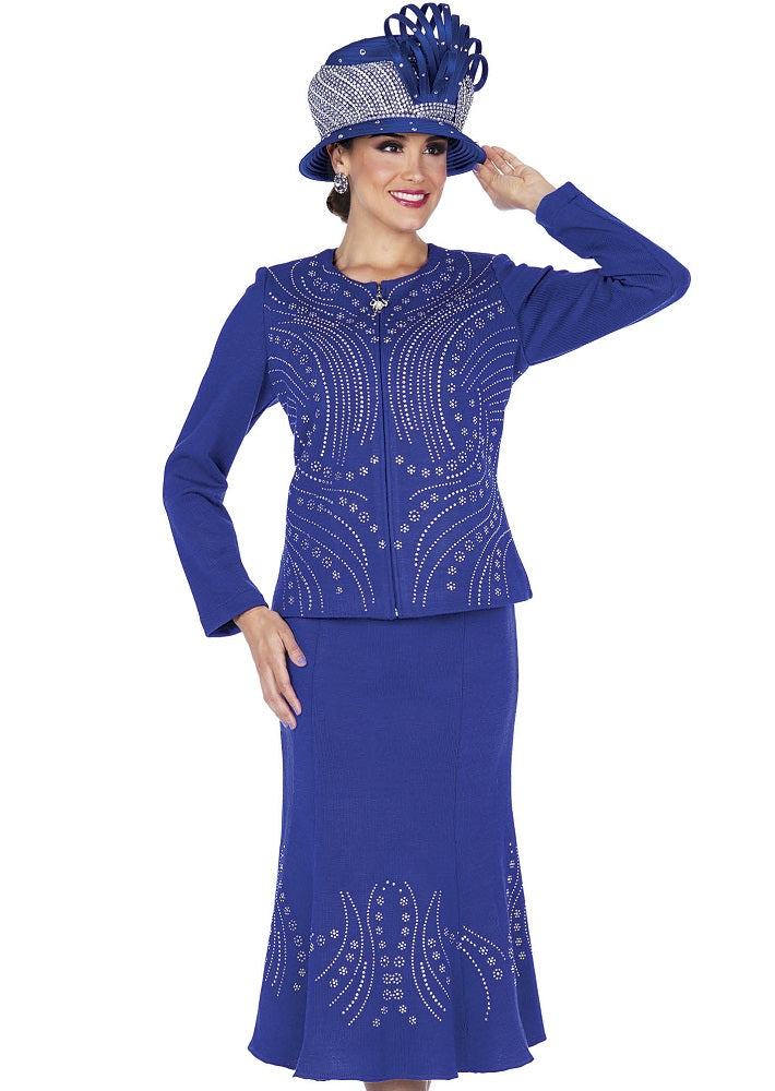 ELITE CHAMPAGNE 5356 WOMEN KNIT SUIT ROYAL