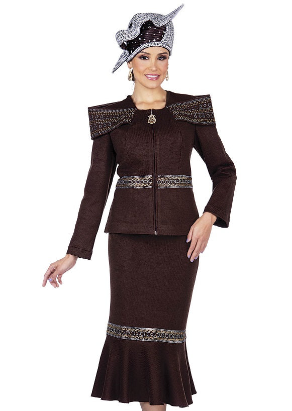 Elite Champagne 5355 Knit Skirt Suit