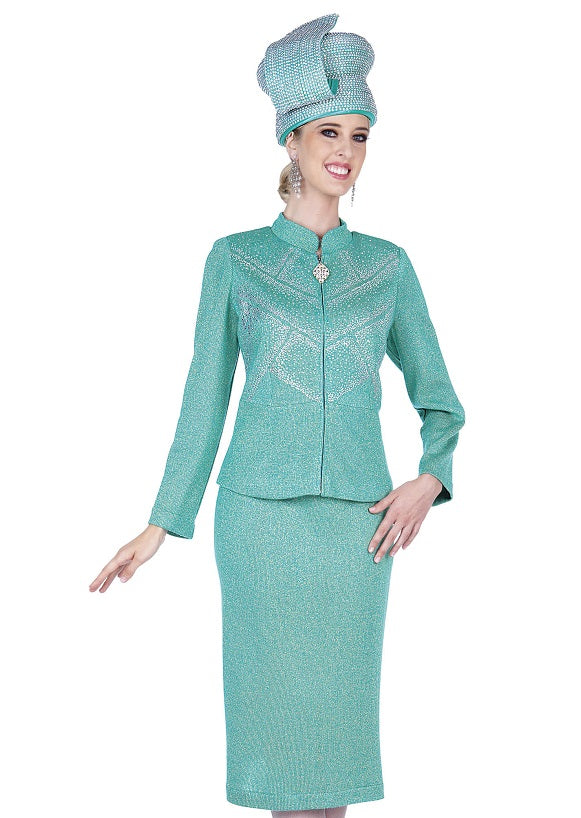 Elite Champagne 5353 Knit Skirt Suit
