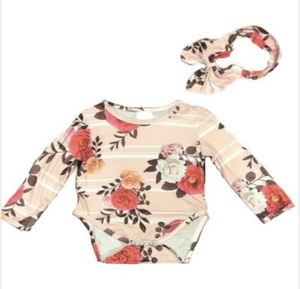 Pink Floral Romper with matching headband - Elias's Journey