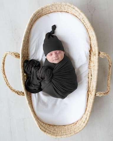 Swaddle Blanket & Adjustable Newborn-3 month Baby Hat - Black