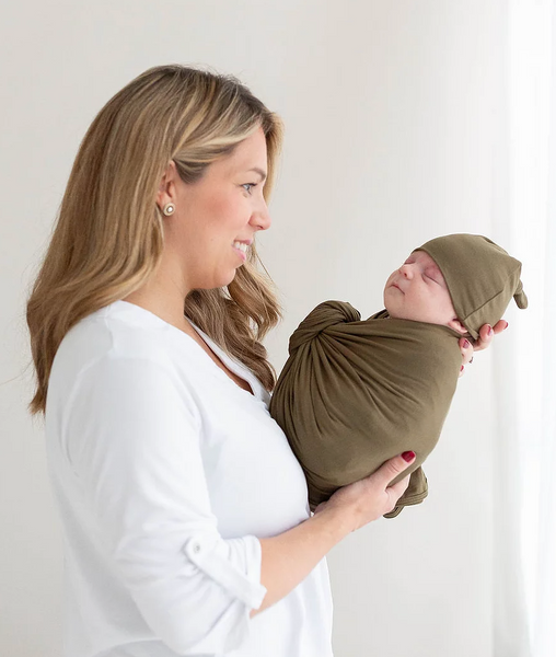 Swaddle Blanket & Hat Set - Army Green
