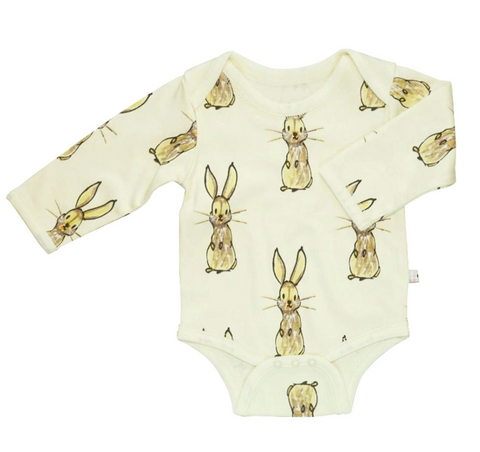 Janey Long Sleeve Pattern Bodysuit - Rabbit - Pre-Order
