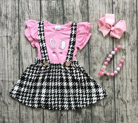 Black Plaid Bunny Jumper Set Pre-Order
