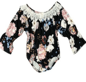 Black & Floral Baby Romper - Elias's Journey