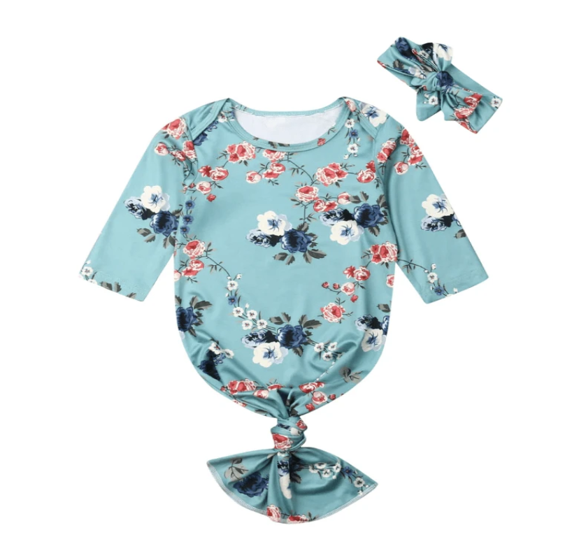 Blossom Blue Floral Knotted Baby Gown & Bow - Elias's Journey