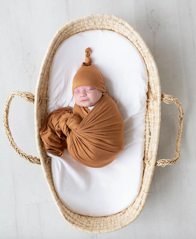 Swaddle Blanket & Adjustable Newborn-3 month Baby Hat - Camel