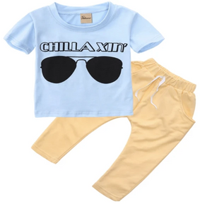 """Chillaxin"" Toddler Boys Two-Piece Outfit - Elias's Journey"