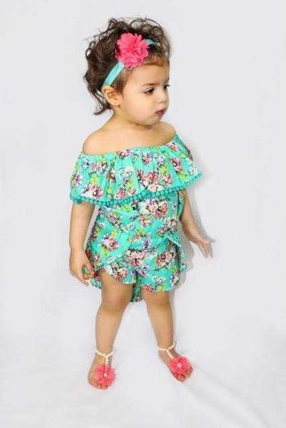 Girls Floral Off the shoulder High-Low Overlay Romper - Elias's Journey