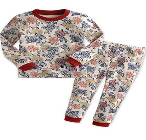 Girls Two-Piece Vintage Floral Pajama Set - Elias's Journey
